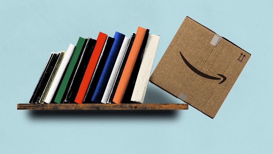 An illustration of books pushing an Amazon box off the shelf