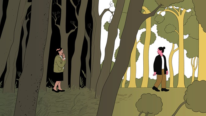 An illustration of a woman in a dark forest, with another woman in the light looking back at her.