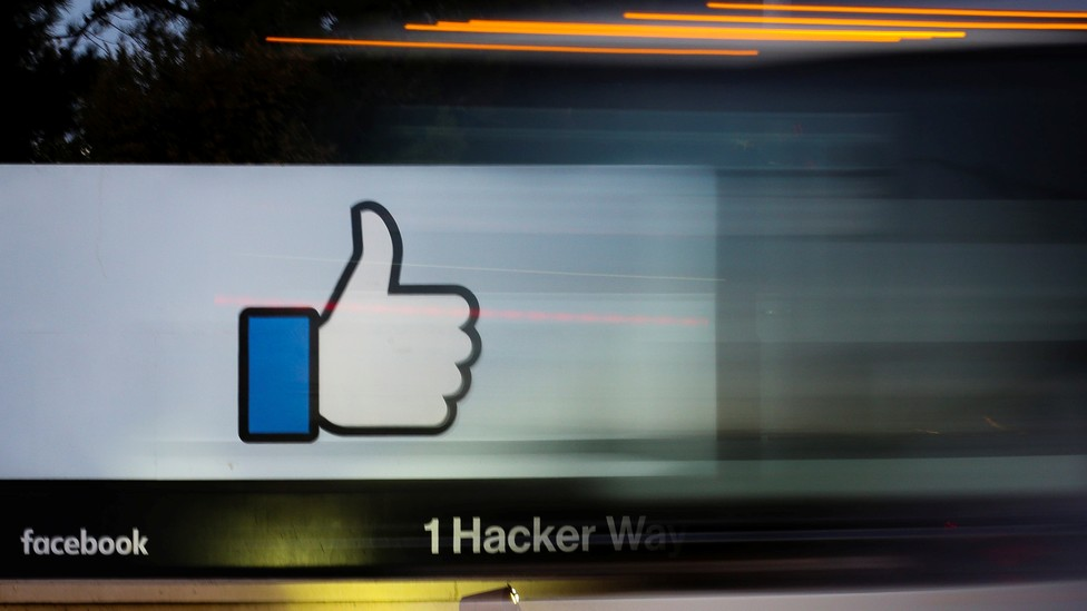 """A """"like"""" sign outside the Facebook headquarters in Menlo Park, CA."""