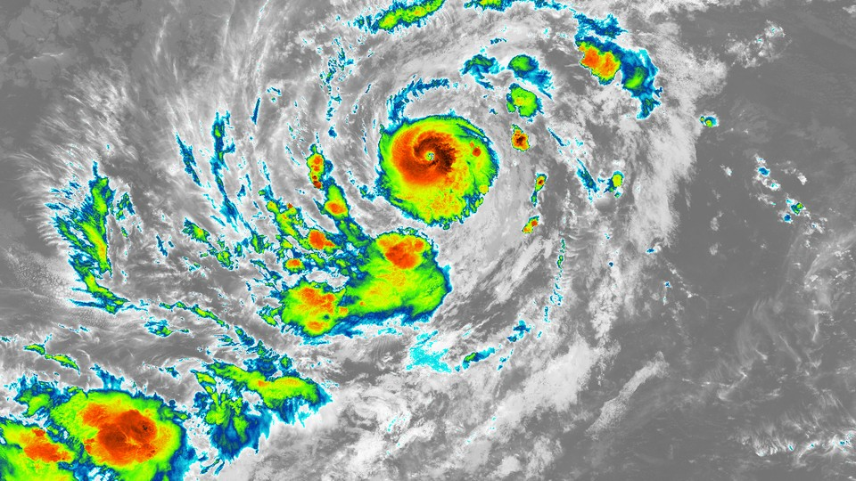 A nighttime infrared image of Hurricane Irma in the Atlantic Ocean