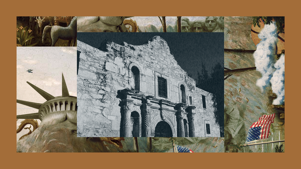 A stark black-and-white photo of the Alamo. The image is set into a frame featuring The Experiment's show art.