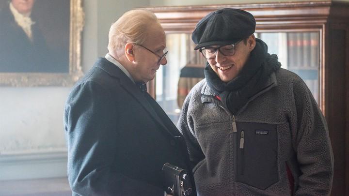 Joe Wright on the set of 'Darkest Hour' with his star Gary Oldman