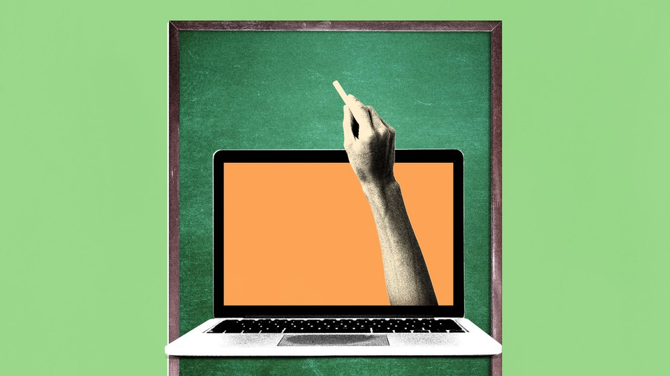 An illustration of a hand with a piece of chalk reaching out of a laptop