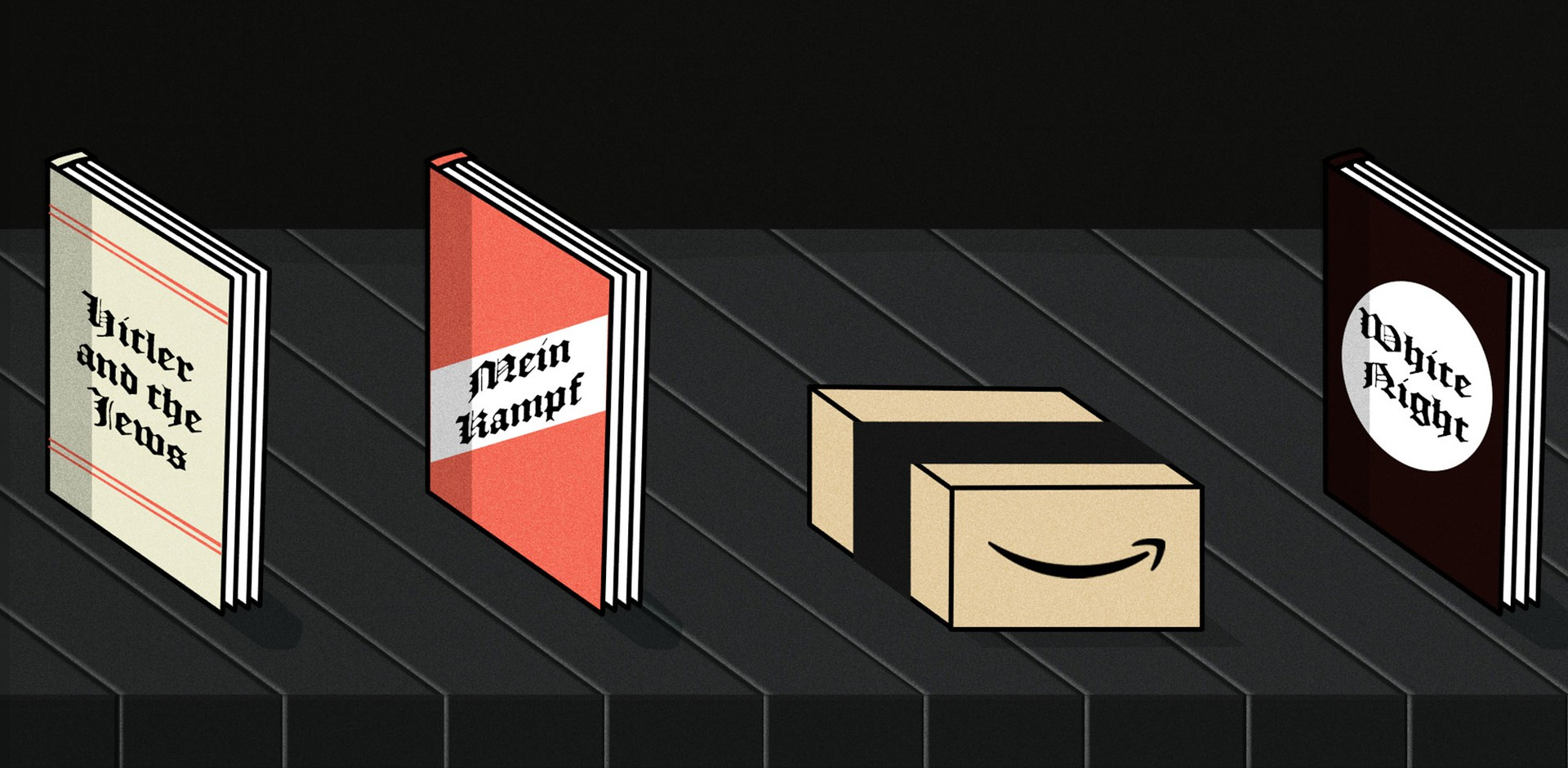White-nationalist books on a conveyer belt with Amazon package