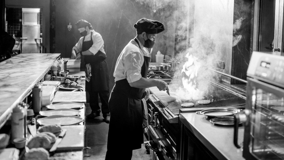 A chef cooking