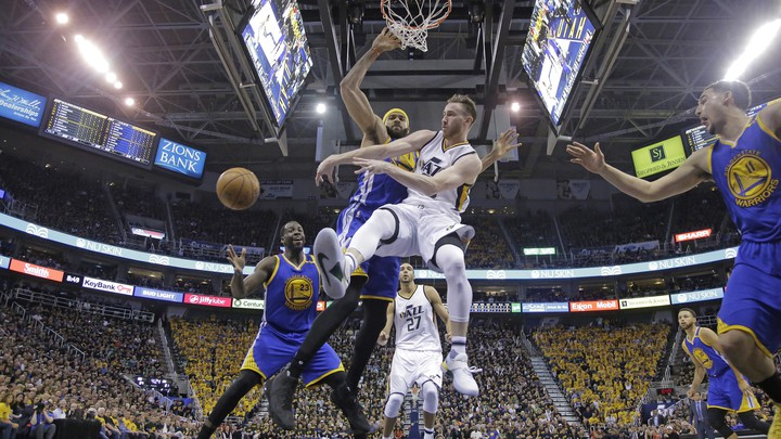 The Utah Jazz star Gordon Hayward during a game against the Golden State Warriors