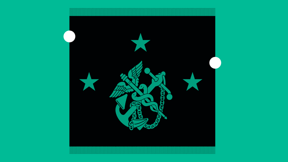 The logo of the U.S. Public Health Service: A medical staff with two snakes intertwined and wings is crossed with a Marine anchor; three stars appear, one at left, one at right, and one above