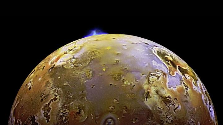 The Galileo spacecraft caught a volcano erupting on Jupiter's moon Io in 1997.