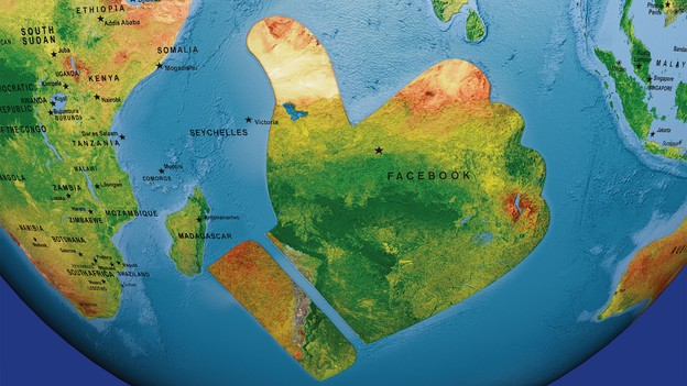 """Map of globe with large landmass shaped like Facebook's """"like"""" thumbs-up sign off the coast of Africa"""