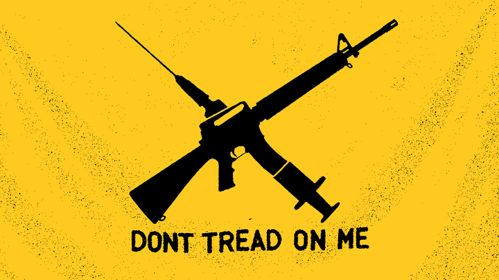 """An illustration of a vaccine needle, a gun, and the slogan """"Don't tread on me"""""""