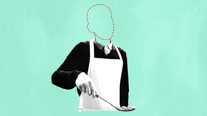 A graphic showing a volunteer with a soup kitchen ladle. The volunteer's head is missing, replaced by a stenciled outline.