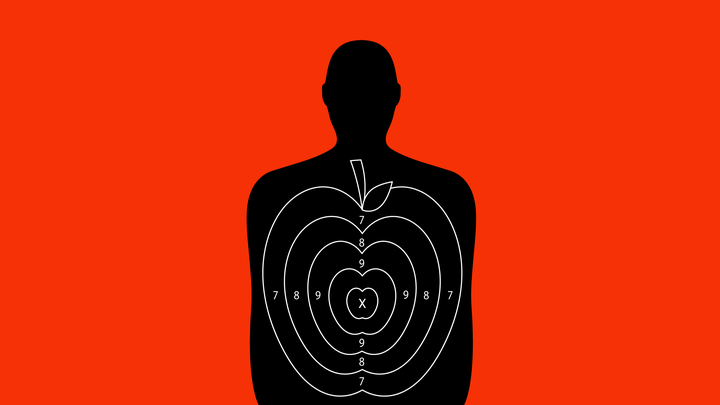 An illustration of target practice for a shooting range with an apple design over it.