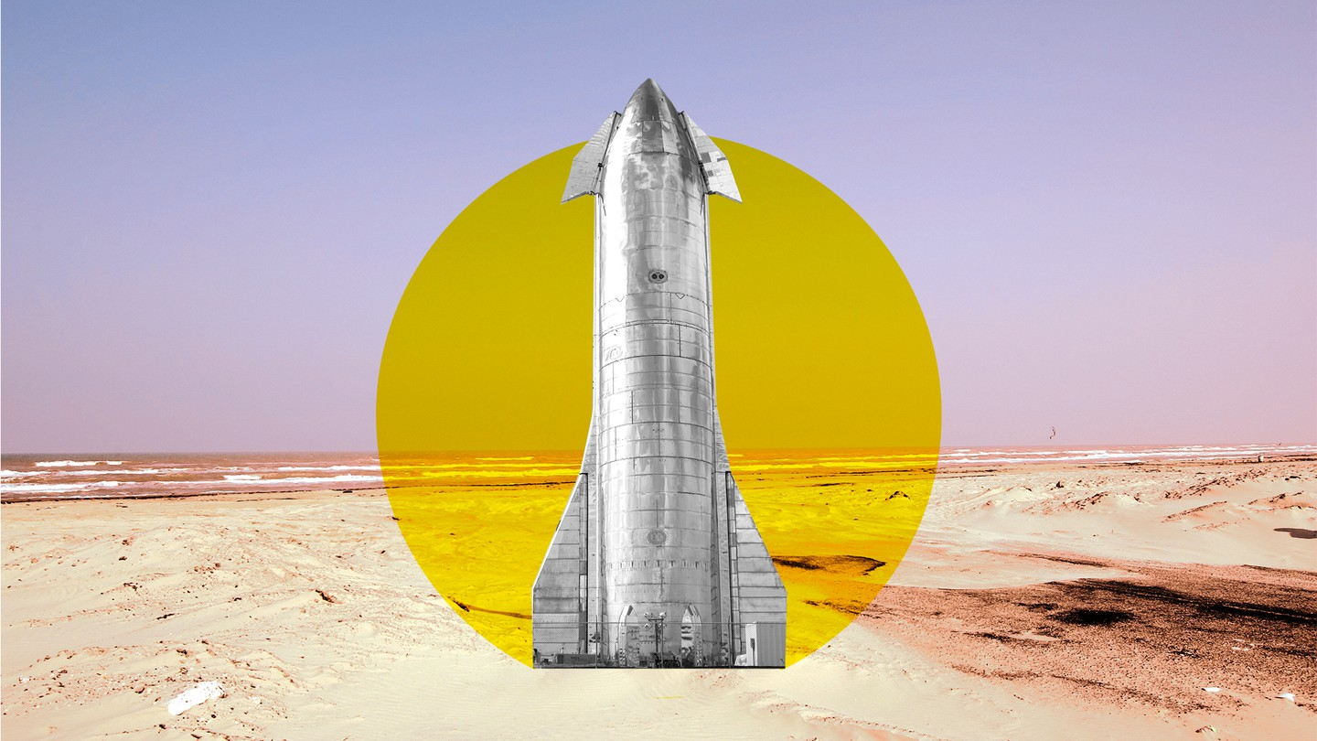 An illustration featuring a SpaceX Starship prototype on the beach