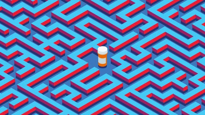 A pill bottle in a maze