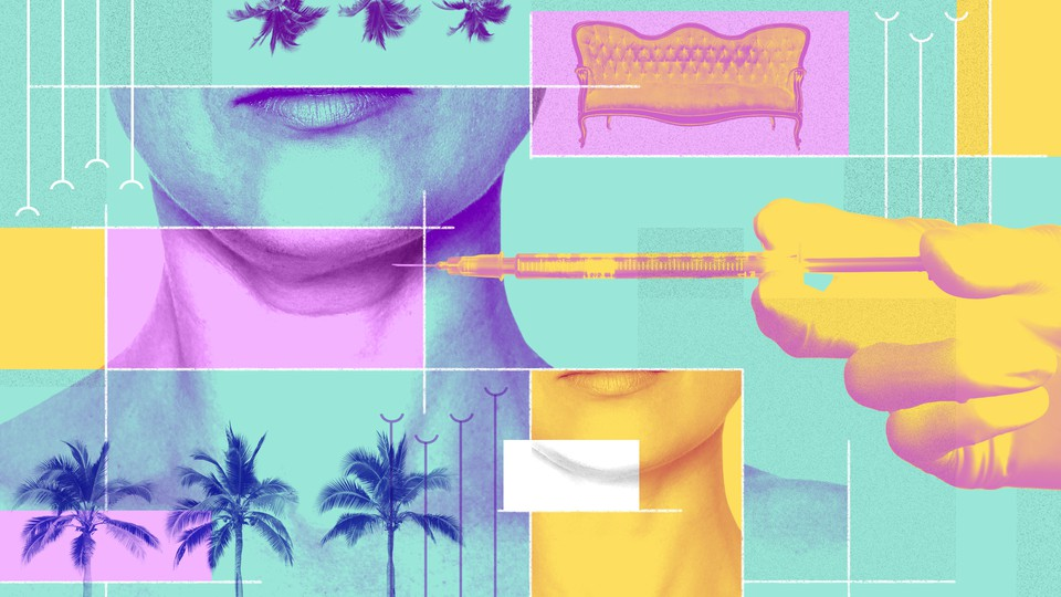 A collage featuring palm trees, a couch, and gloved hand holding a syringe to a woman's neck