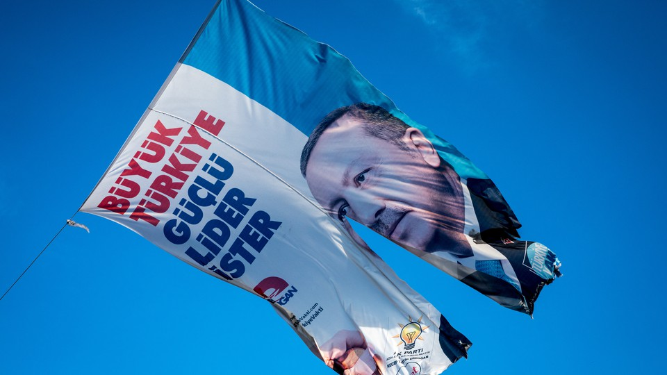 A banner with President Erdogan's face