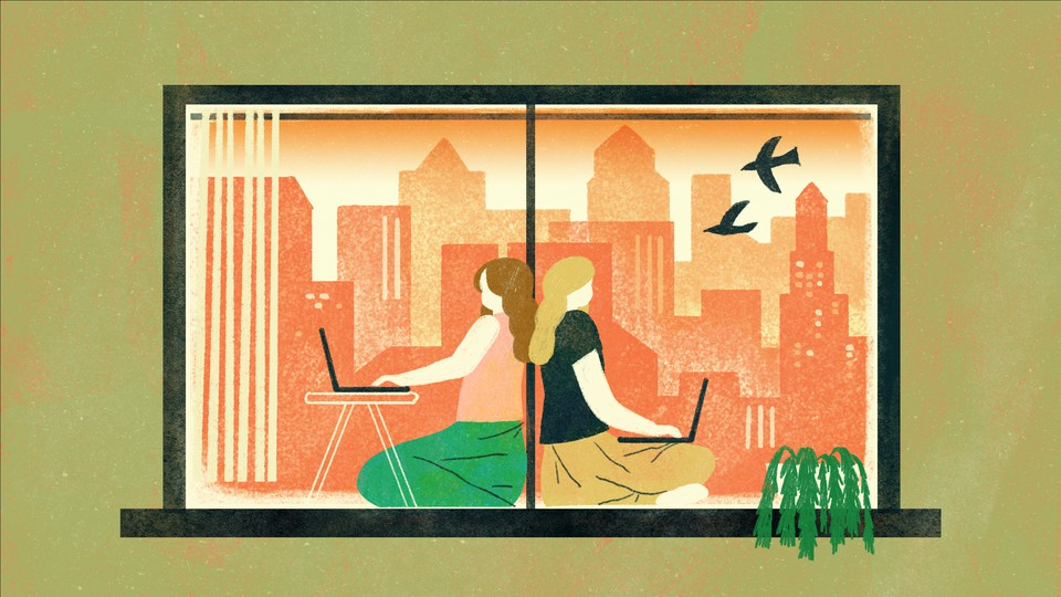 Illustration of two women using laptops sitting back to back in front of a window with a city outside and two birds swooping by the window