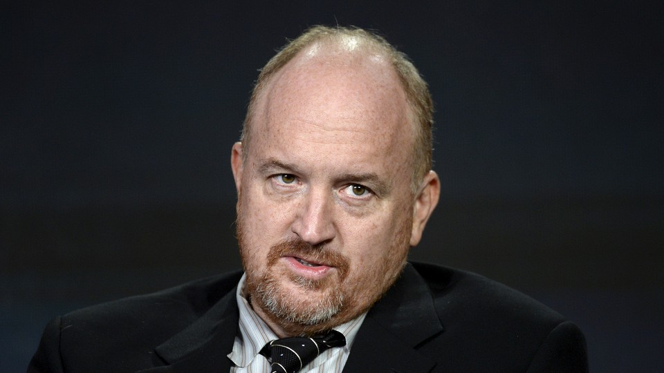 """Louis C.K. participates in a panel for the FX Networks series """"Baskets"""" during the Television Critics Association Cable Winter Press Tour in Pasadena, California, on January 16, 2016."""
