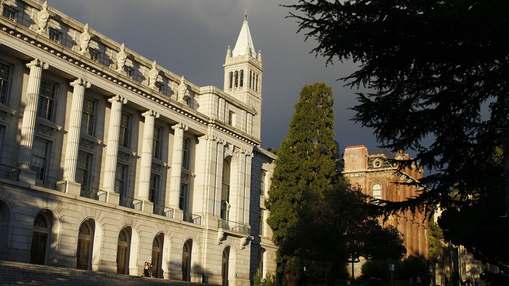 A white, stone building on the University of California, Berkeley, campus