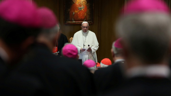 Pope Francis addresses a synodal meeting at the Vatican in early October.