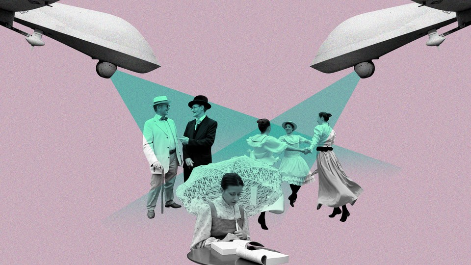 A collage of Predator drones beaming light onto people dressed in early-20th-century outfits
