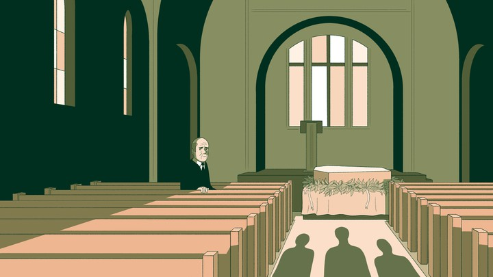 An illustration of a man sitting in a church at a funeral, looking back at three figures entering.