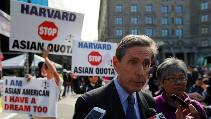 "Anti-affirmative-action activist Edward Blum, the founder of Students for Fair Admissions, speaks to reporters at the ""Rally for the American Dream—Equal Education Rights for All."""