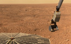 The robotic arm on the Phoenix Mars Lander picking up a scoop of soil from the surface of Mars