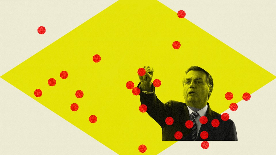 President Bolsonaro is pictured against a yellow backdrop with red dots around him.