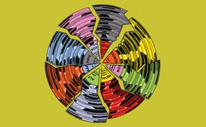 On green background, an LP record shattered into 8 multi-colored slices with different genre labels: Alt, Rap, Indie, Pop, Rock, Country, EDM, Metal