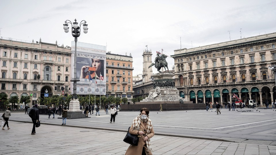 The normally busy Piazza Duomo in Milan, Italy on March 5, 2020.