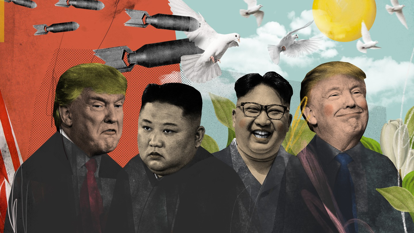 A conceptual illustration illustrating fraying relationships between the U.S. and North Korea. On the right side of the illustration, Donald Trump and Kim Jong Un smile happily as doves fly in the sky. On the left side, Donald Trump and Kim Jong Un scowl beneath nuclear bombs.