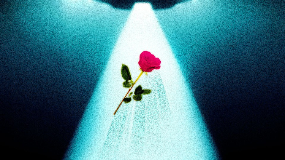 A drawing of a UFO abducting a rose