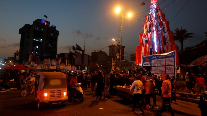 Demonstrators gather in Baghdad's Tahrir Square.