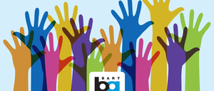 Colorful hands reach up on this anti-discrimination poster from BART's new inclusivity campaign