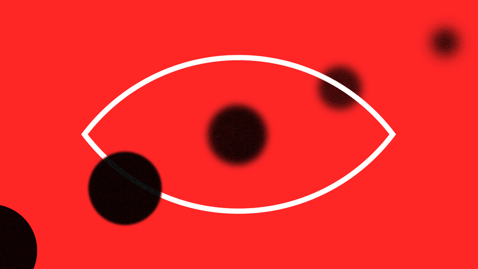 An illustration of an eyeball with faded circles