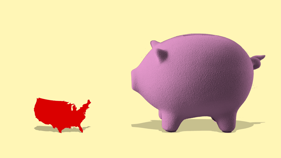 Illustration of a giant pink piggy bank next to the shape of the United States