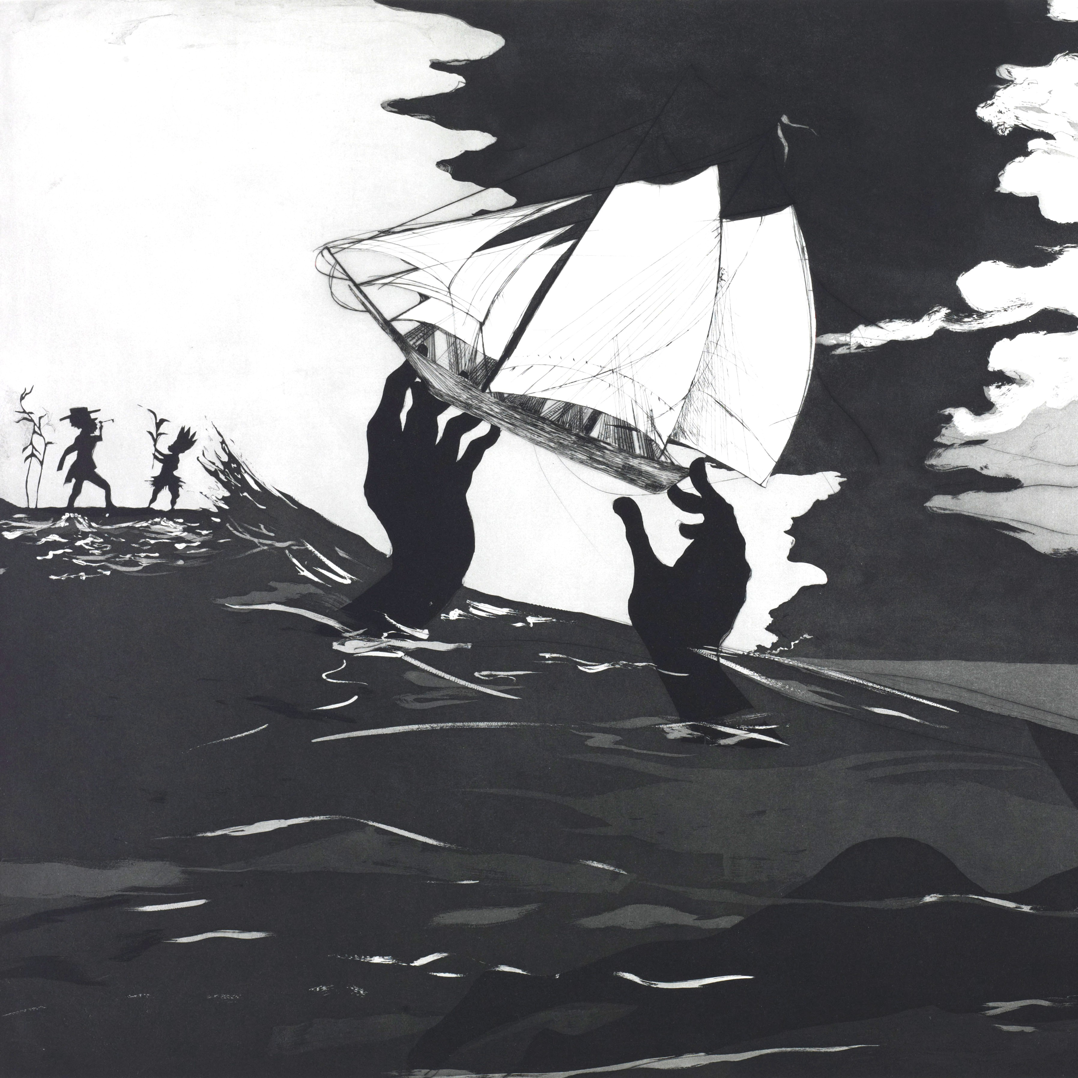 A ship being carried by a pair of hands emerging from a choppy ocean apparently towards land on which two silhouetted figures can be seen standing