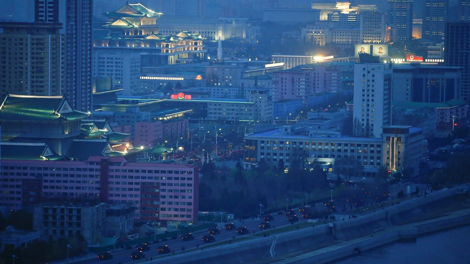 A photo of central Pyongyang, North Korea on April 13, 2017.