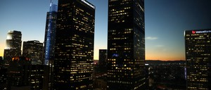 The Los Angeles skyline is pictured.