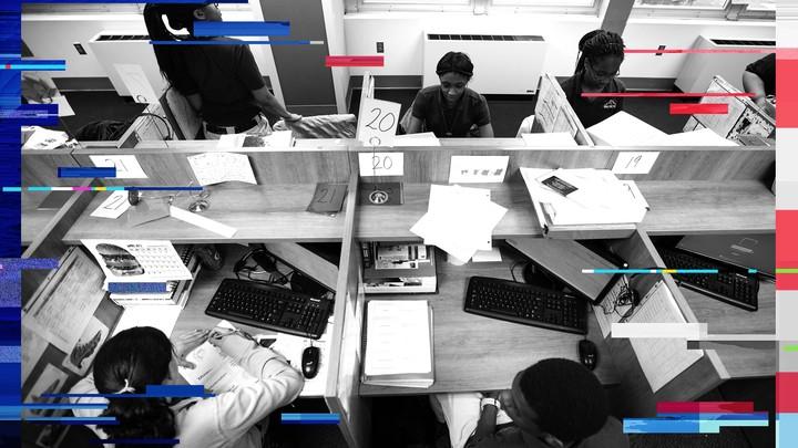 Newark Prep Charter School students sit at their desks.