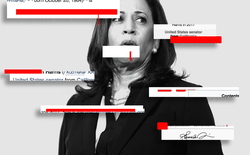 A photograph of Kamala Harris overlaid with screenshots of her Wikipedia page