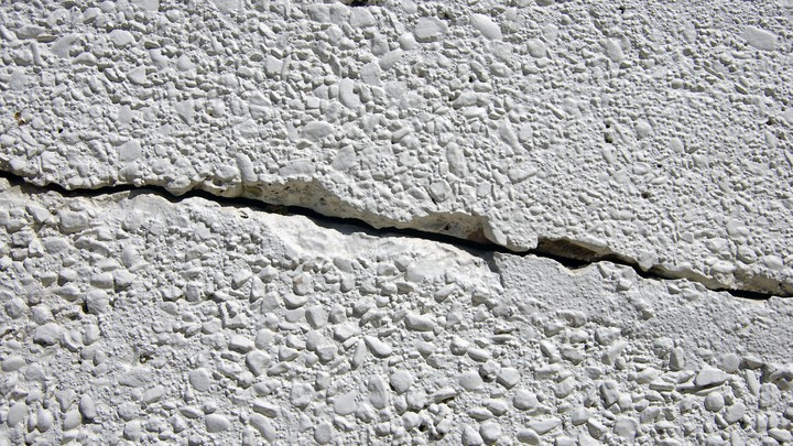 A crack in a white wall