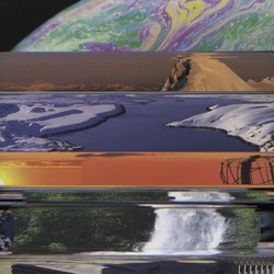 a collage of images including the Earth from outer space, a desert scene, a polar-ice scene, and a waterfall