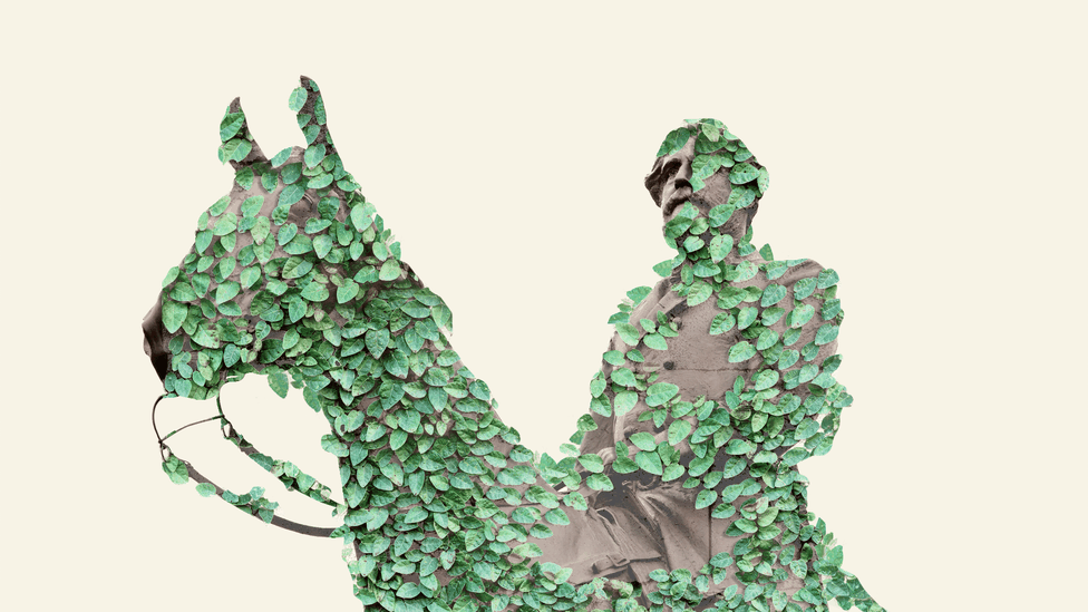 An illustration of Robert E. Lee's statue covered in vines.