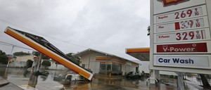 No gas today: A South Florida gas station in the aftermath of high winds brought on by Hurricane Irma.