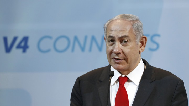 Netanyahu attends a news conference in Budapest on July 19, 2017.