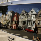 A row of Victorian homes in the Haight Ashbury neighborhood in San Francisco, California.