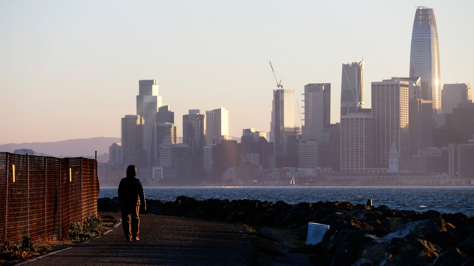 San Francisco's skyline as seen from condemned property on Treasure Island