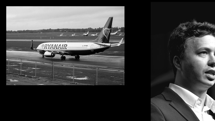An illustration of a Ryanair plane and Roman Protasevich.